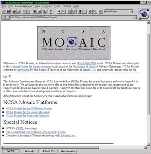 первый браузер Мозаик - browser Mosaic