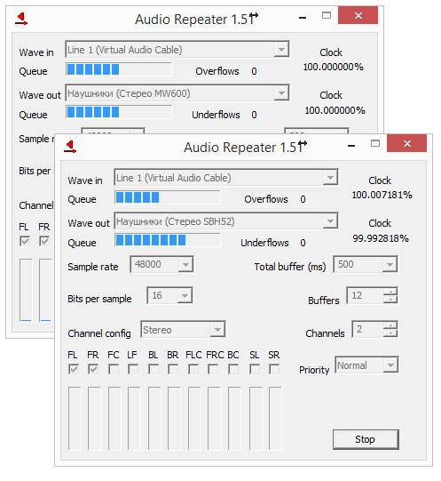 две гарнитуры в Virtual Audio Cable